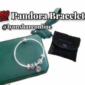 💯 Pandora Silver Charm Bracelet w/ Travel Clutch